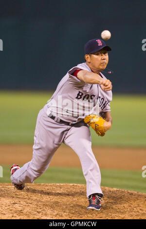 July 19, 2010; Oakland, CA, USA;  Boston Red Sox starting pitcher Daisuke Matsuzaka (18) pitches against the Oakland - Stock Photo