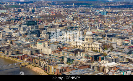 London and St Paul's Cathedral aerial view, in England, UK - Stock Photo