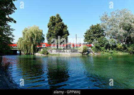 Train crossing over bridge on Lake Constance, Lindau, Swabia, Bavaria, Germany, Europe - Stock Photo