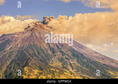 Large Ash Cloud Rising From Tungurahua Volcano, Cordillera Occidental Of The Andes Of Central Ecuador, South America - Stock Photo