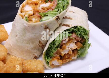 Fried Chicken Wrap - Stock Photo