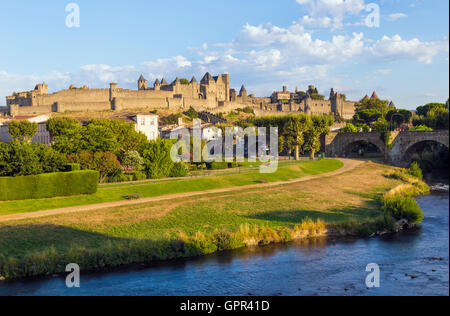 Carcassonne in evening light - Stock Photo