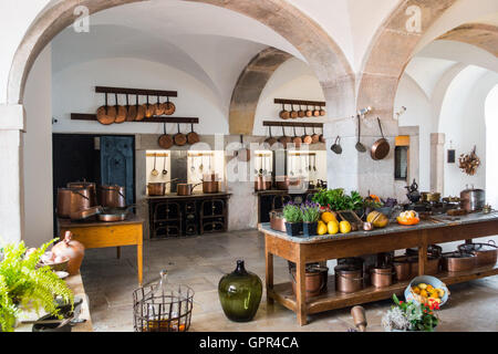 The main kitchen in the Pena Palace, a romanticist castle in Sintra, near Lisbon, Portugal - Stock Photo