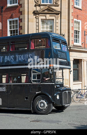 Ghost tour bus York North Yorkshire England UK United Kingdom GB Great Britain - Stock Photo