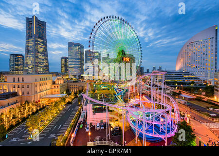 Yokohama, Japan cityscape at dusk. - Stock Photo