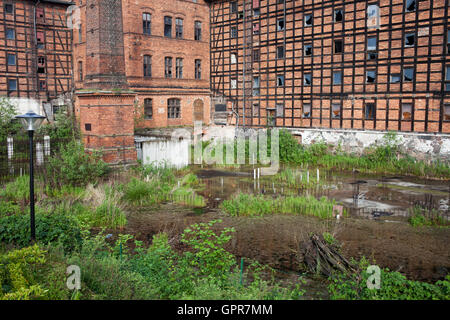 Rother Mills and pond on Mill Island, abandoned industrial building in city of Bydgoszcz, Poland - Stock Photo