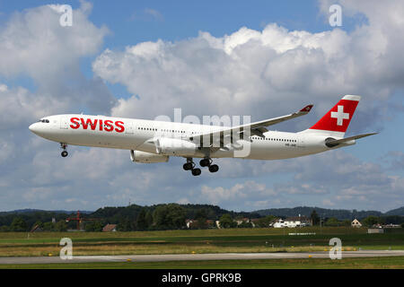 Zurich, Switzerland - July 29, 2016: A Swiss International Air Lines Airbus A330-300 with the registration HB-JHD - Stock Photo