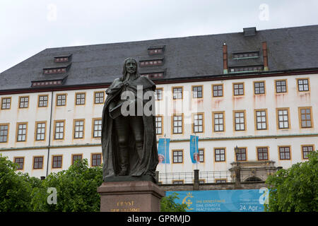 Statue of Ernest the Pious in Gotha, Germany. The statue stands at the Friedenstein Palace. - Stock Photo