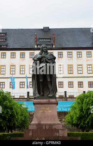Statue of Ernest the Pious (Ernst der Fromme) in Gotha, Germany. The statue stands by Friedenstein Palace. - Stock Photo