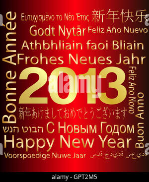 2013 - Happy New Year in Multiple languages - Stock Photo