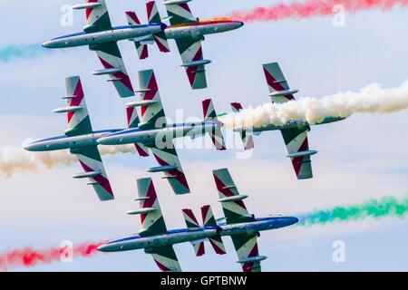 Frecce tricolori national Italian aerobatic group dangerous risky crossing during Airpower Zeltweg 2016 airshow - Stock Photo