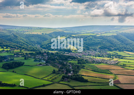 Porlock and Exmoor National Park viewed from Bossington Hill, Somerset, England. - Stock Photo