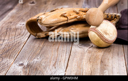 Vintage Baseball Gear On A Wooden Background Old Equipment Rustic Boards Selective Focus Bat Handle And Ball