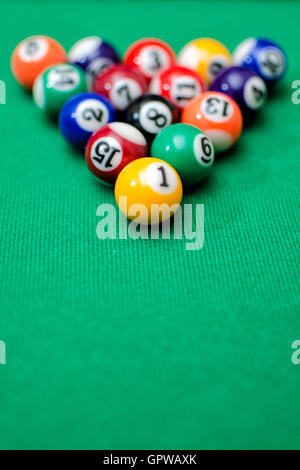 ... Pool Game Balls On Green Felt Table   Stock Photo