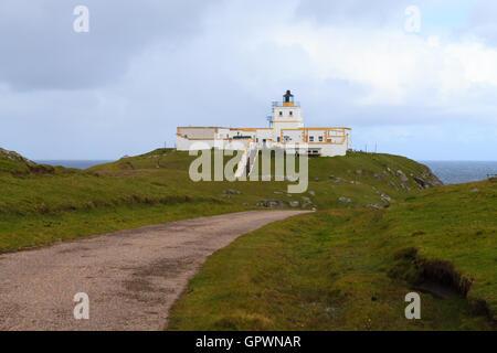 Strathy Point Lighthouse, Scotland. - Stock Photo