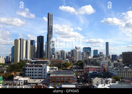 View along Ann Street through Fortitude Valley towards Brisbane CBD, Queensland, Australia. No MR or PR - Stock Photo