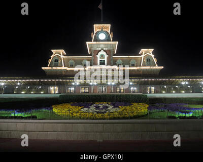 Orlando, Florida. March 4th, 2015. The Main Street USA Train Station at the entrance to Magic Kingdom, Walt Disney - Stock Photo