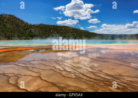 A famous geyser Grand Prismatic Spring in Yellowstone - Stock Photo