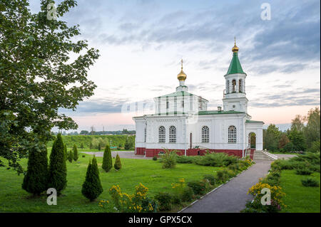 Pokrovskaya old church and garden landscape in Polotsk, Belarus - Stock Photo