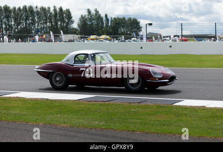 James Cottingham driving a 1961 Jaguar E-Type during  qualification for the RAC Tourist Trophy for Historic Pre - Stock Photo