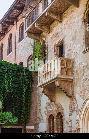 Patio and balcony of Romeo and Juliet house, Verona, Italy - Stock Photo