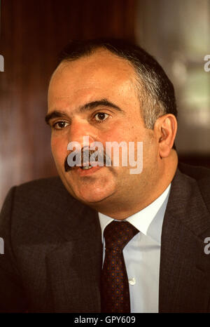 Then Crown Prince Hassan bin Talal during a private interview, mid 1990, replaced by his nephew Abdullah as heir - Stock Photo
