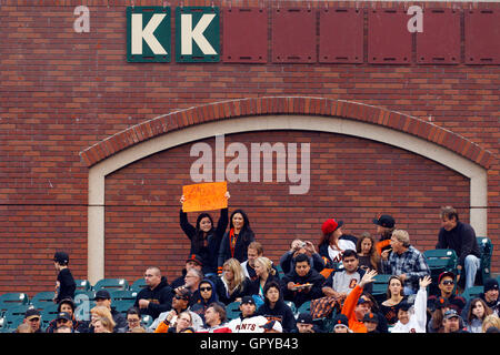 June 6, 2011; San Francisco, CA, USA;  San Francisco Giants fans hold up a sign counting down to the 1000th career - Stock Photo