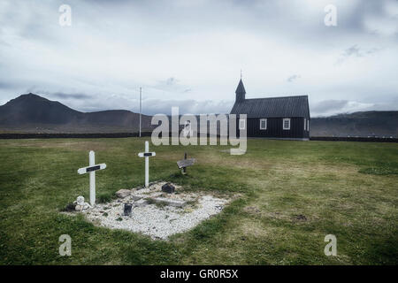 Budir, Black church, Snaefellsnes, Iceland - Stock Photo