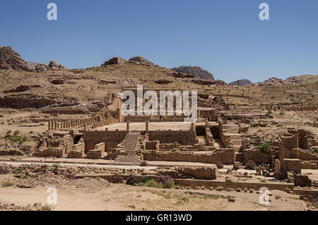 View of The Great Temple and Arched Gate in ancient city Petra, Jordan - Stock Photo