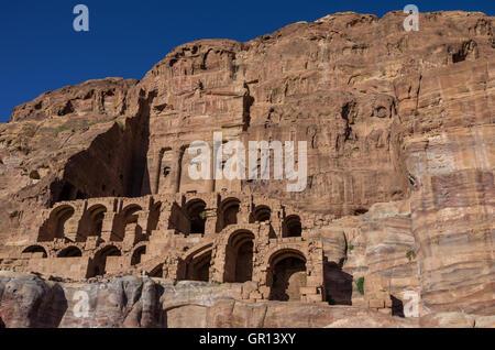 Urn tomb - one of Royal tombs. Petra, Jordan. No people - Stock Photo