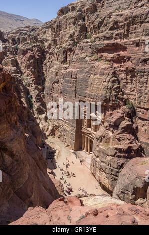 Bird's-Eye View Al-Khazneh 'The Treasury' in Petra, Jordan - Stock Photo