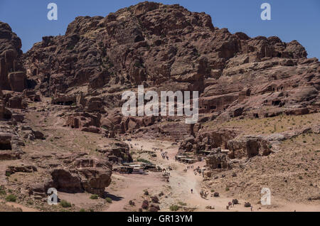 View to Jebel Madbah, Street of Facades and Theatre from side of the Cardo Maximus Petra. Jordan - Stock Photo