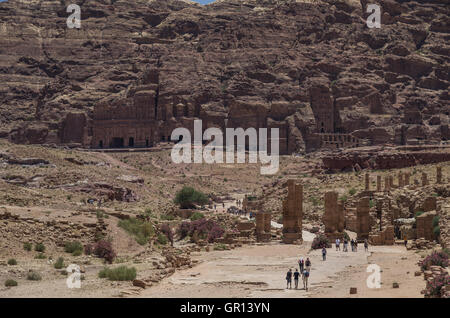 View to Royal Tombs from side of the Cardo Maximus Petra. Jordan - Stock Photo