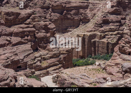 Nabataean Quarry  in Petra ancient city. View from Al Habis mountain. Petra. Jordan - Stock Photo