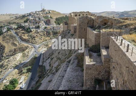 Walls of the Kerak Castle, a large crusader castle in Kerak (Al Karak) in Jordan - Stock Photo