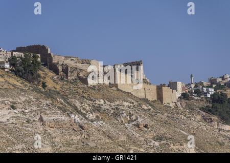 View to the crusader castle Kerak (Al karak) in Jordan - Stock Photo