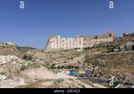 Al-Karak, Jodan - June 03, 2016: View to the crusader castle Kerak (Al karak) in Jordan - Stock Photo