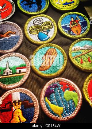 Merit Badge Sash, Boy Scouts of America, USA - Stock Photo