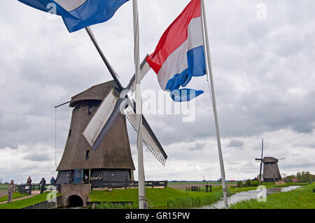 Typical Dutch windmill in the village of Schermerhorn, Holland - Stock Photo