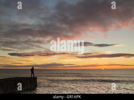 Seaton Carew, north east England, UK, 6th, September, 2016. Weather: A hiker on The England Coast Path at Seaton - Stock Photo