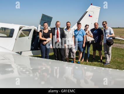 Aug 29, 2016 - Liberland - The crew that came back from Serbia to Czech Republic. President of Liberland VIT JEDLICKA - Stock Photo