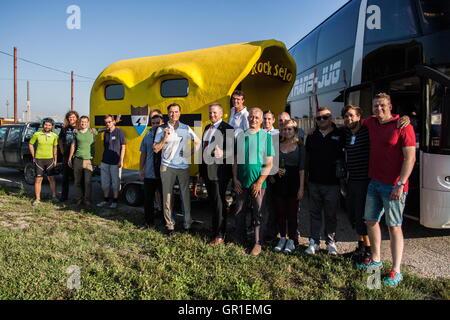 Aug 29, 2016 - Novi Sad, Serbia - Liberland team on the way to Liberland. The Free Republic of Liberland, is a self - Stock Photo