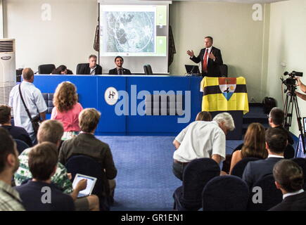 Aug 29, 2016 - Novi Sad, Serbia - Conference for the Liberland matters during a president speech in Novi Sad on - Stock Photo