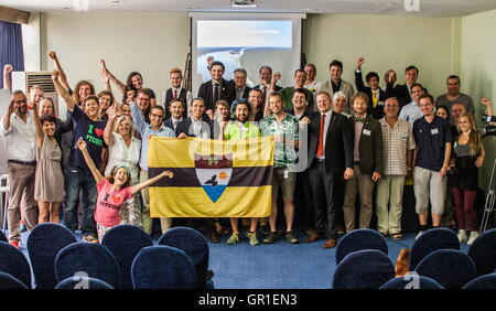 Aug 29, 2016 - Novi Sad, Serbia - Liberland members, participans and fans at the conference for the Liberland matters - Stock Photo
