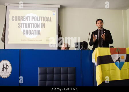 Aug 29, 2016 - Novi Sad, Serbia - Conference for the Liberland matters in Novi Sad on August 27th. The Free Republic - Stock Photo