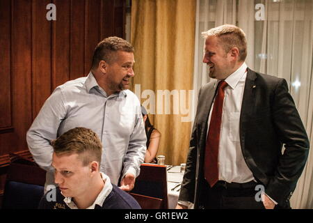 Aug 28, 2016 - Novi Sad, Serbia - VIT JEDLICKA greeting members, participans and fans of Liberland in Novi Sad, - Stock Photo