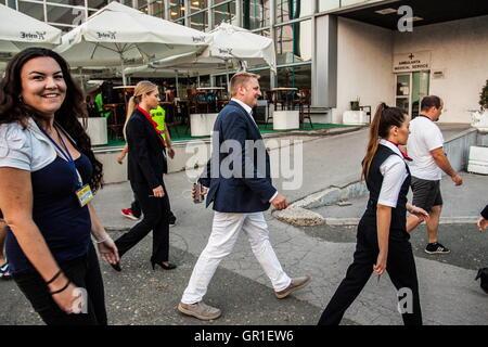 Aug 28, 2016 - Novi Sad, Serbia - VIT JEDLICKA after landing in Belgrade, Serbia. The Free Republic of Liberland, - Stock Photo