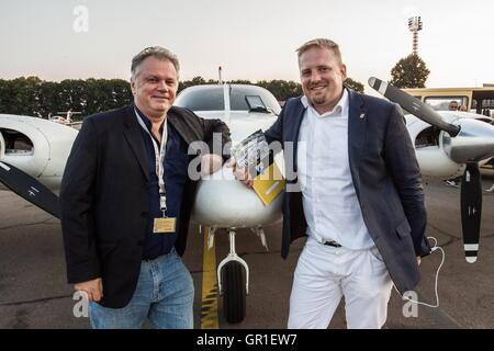 Aug 28, 2016 - Novi Sad, Serbia - Herve Lacorne and VIT JEDLICKA after landing in Belgrade, Serbia. The Free Republic - Stock Photo
