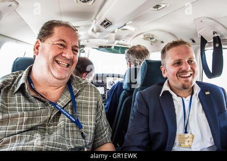 Aug 28, 2016 - Novi Sad, Serbia - Chris Principe (global banking principal on the left) and VIT JEDLICKA (president - Stock Photo