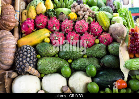 Variety of fruits at the local stall in Kota Kinabalu, Sabah Borneo, Malaysia. - Stock Photo